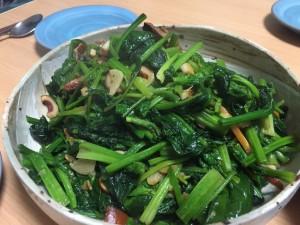 青菜炒め withスルメイカ