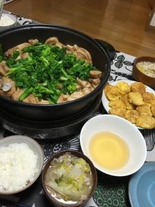 菜の花と車麩とあさりの煮物 春キャベツと豚肉のみそ汁 明石焼