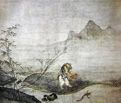 室町幕府将軍足利義持の命により、ひょうたんでナマズを押さえるという禅の公案を描いたもの(wikipedia)
